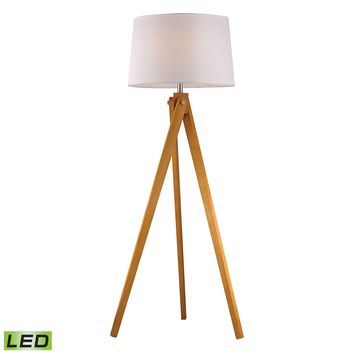 D2469-LED Wooden Tripod LED Floor Lamp in Natural Wood Tone