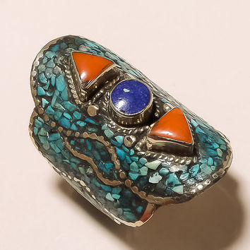 VINTAGE HANDCRAFTED 8.75 RING With Inlay Turquoise, Lapis & Coral Accents