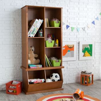 Classic Playtime Hopscotch Pecan Tall Bookcase with Optional Stackable Storage Bin | www.hayneedle.com