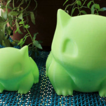 "Bulbasaur Planter Combo - Large (5.5"") & Small (3"") Green 3d-printed pot for plants"