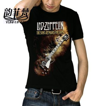 Many Patterns Heavy Metal Led Zeppelin AC DC Metallica The Beatles Nirvana Guns N' Roses Kiss Tee Rock Band T-shirt for men