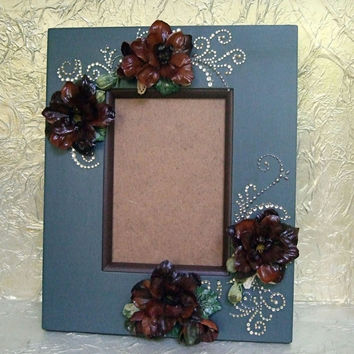 Custom 4 x 6 Wooden Frame, Hand Painted Picture Frame, Embellished Flower Frame, Photo Frame, Easel Frame, Pearl and Rhinestone Frame