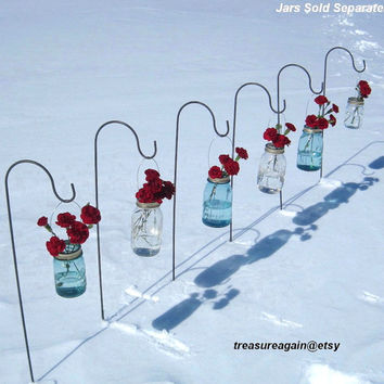 6 Mason Jar Shepherd Hooks for Mason Jar Wedding Flowers, Mason Jar Lanterns, Mason Jar Solar Lights Outdoor Weddings 36 inch Hooks, No jars