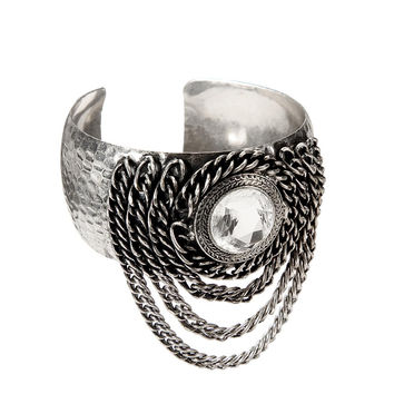 Silver Cuff Bracelet with Chain and Crystal Details