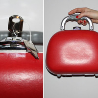 Vintage Red Leather Mini Luggage Purse / Mod Mini Suitcase / Carry On Luggage / Travel Purse / Overnight Bag