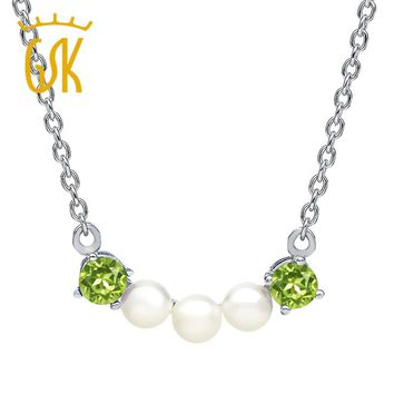 2017 fine jewelry women gemstone necklace 0.60 Ct Round Green Peridot Cultured Freshwater Pearls 925 Silver Necklace pendant