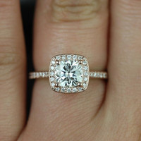 Ultra Petite Hollie 14kt Rose Gold Cushion FB Moissanite and Diamonds Halo Engagement Ring (Other metals and stone options available)