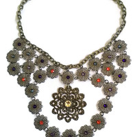 "Bib Statement Necklace - Gunmetal with Swarovski Crystals - 18"" with Toggle Clasp"