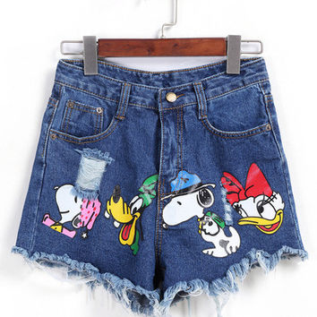 Distress Cartoon Print Denim Shorts