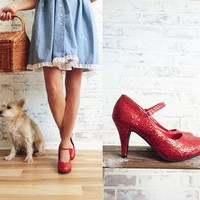 Vintage Red RUBY Slippers || Mary Jane Heels || Dorothy Wizard Of Oz Costume Shoes ||