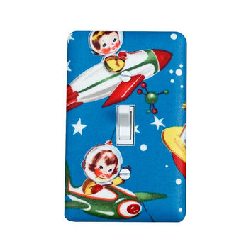 Rocket Ship Light Switch Plate Cover / Space Ship / Boys Room / Children Kids Room / Retro Rocket Rascals by Michael Miller / Blue