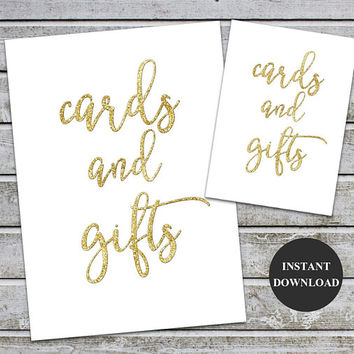 Cards and Gifts Gold Foil Signs Printable Wedding Card Decor Table Sign Gold Wedding Printable Signs 5x7 and 8x10 (v35) Instant Download