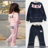 VELOUR PINK OR NAVY  2 PIECE TRACK SUIT