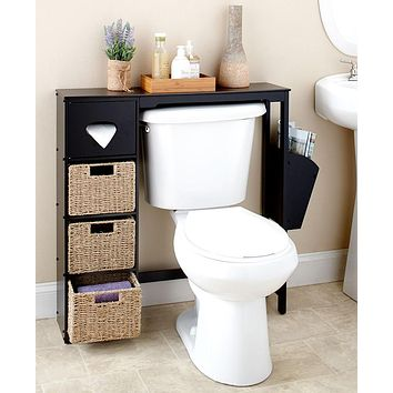 Bathroom Space Saver Over the Toilet 3 Shelves Tissue Box White Black Brown Seagrass Baskets
