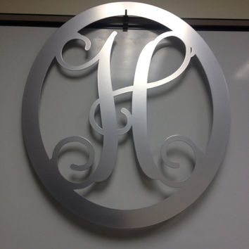 Metal monogram door hanger, monogrammed metal wreath, monogram door hanger,wedding gift, anniversary gift, outdoor wreath, front door