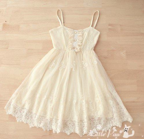 [Free Shipping] Spaghetti Strap Front Button Chiffon Lace Dress TE506