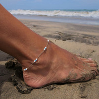New Arrival Cute Ladies Shiny Stylish Gift Jewelry Fashion Accessory Sexy Simple Design White Beach Sandals Anklet [6768757511]