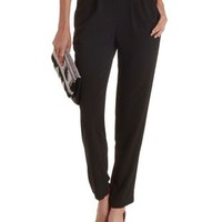 Black Pleated Slim Cut Trousers by Charlotte Russe