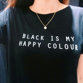Women Black is My Happy Color Print T-Shirts Top +Free Gift -Random Necklace-119