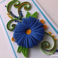 Navy blue quilling flower/ Quilling card/ Birthday card/ Wedding card/ Anniversary/ Love you/Greeting card
