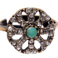 Floral Filigreee Antique Round Emerald Gemstone Diamond Accent Green Hurrem Sultan Style Vintage Flower Adjustable Ring Size 6 7 8 9 10