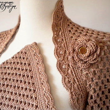 Crochet shrug bolero long sleeved with lace trim golden beige shimmering cotton bridal wrap