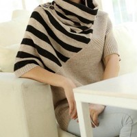 STRIPED KHAKI TURTLENECK SWEATER by RuedeChic on Sense of Fashion