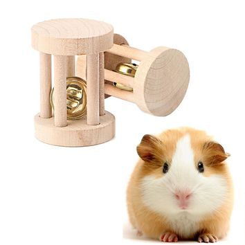 Bell Roller Natural Wood Chew Toy for Hamster