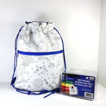 Color Me Bag - Coloring Bag - Drawstring Bag - Drawstring Backpack - Boy Bag - Cinch Sack - Backpack - School Backpack - Cinch Bag - Bag