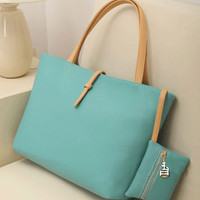 Casual Leather Shoulder Bag with Coin Purse