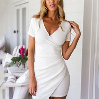 White V-Neck Short Sleeve Wrap Pencil Bodycon Mini Dress