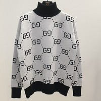 GUCCI new autumn and winter high-necked knit sweater g letter sweater White