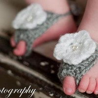 Gray Baby Barefoot Sandals with White Flower from Little Bugaboos