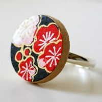 Washi Blossom Ring - Red & Jet