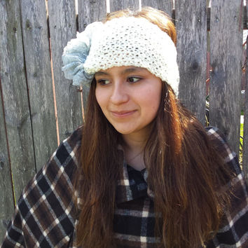 Ruffle Ear Warmer Winter Headband,  Lace Ivory Grey Gray Headband, Knit Turban Head Wrap