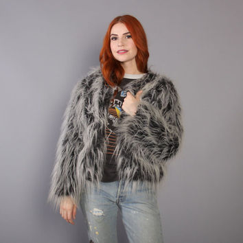 90s SHAGGY Faux Fur COAT / Fluffy Black & White Cropped JACKET, xs-s