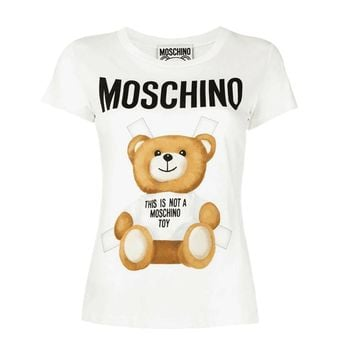 hot sale moschino white bear suit fashion women t shirt