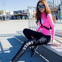women's Sports tracksuits twinset plus size 2016autumn Newest Fashion elastic Sport suits set ladies Skinny gym track suit Girls