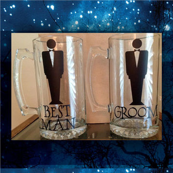 Groom and Best Man Beer Mugs / wedding glasses / bridesmaids glasses / birthday glasses / bride's wine glass