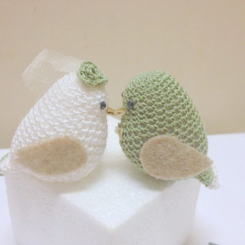 Pale green Wedding cake toppers - Love Birds, Engagement cake topper, Wedding doves set of two, Wedding Birds Decoration, Crochet LoveBirds