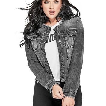 Raw-Edge Denim Jacket at Guess