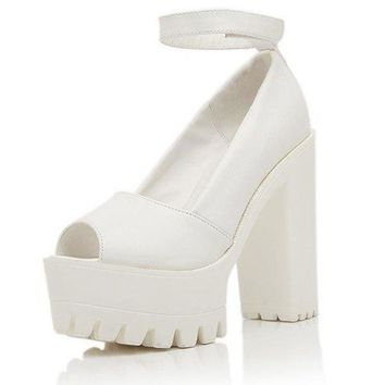Leather Strappy Chunky Heel Pure Color Piscine Mouth Sandals
