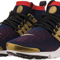 Air Presto Ultra Flyknit Mid Olympics Mens Lifestyle Shoe (Navy/Red/Metallic Gold)