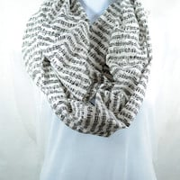 Sheet Music Infinity Scarf - 100% Cotton - Pre-washed Pre-shrunk - Handmade - Easy Care