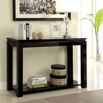 Venta collection black high gloss finish wood console sofa table with lower shelf