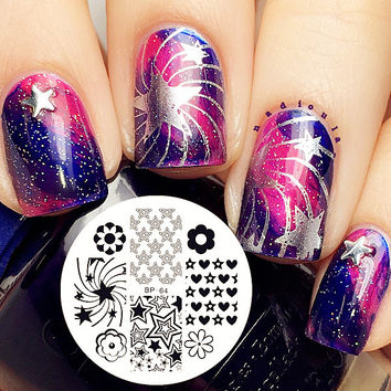 Star Flower Nail Art Stamping Template Image Plate BORN PRETTY Nail Stamp Plates BP64