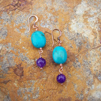 Red Mesa Turquoise & Purple Amethyst Stone Wire Wrapped Copper Earrings, Woodland Earthy Nature Gift For Women, Purple and Turquoise Jewelry
