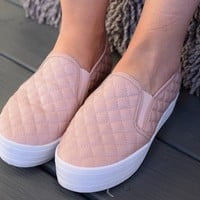 Yes Way Rosé Cross-stitched Sneakers- Blush