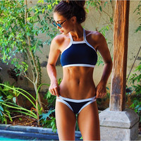 2016 Summer styles Triangle Sexy halter crop top hang High neck Bikinis set push up Swimwears Women Swimsuit Beach bathing suit
