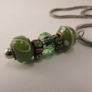 Glass Lampwork Japanese Necklace, Interchangable Charms Necklace Jewelry, Mix and Mingle Beads, Snake Chain